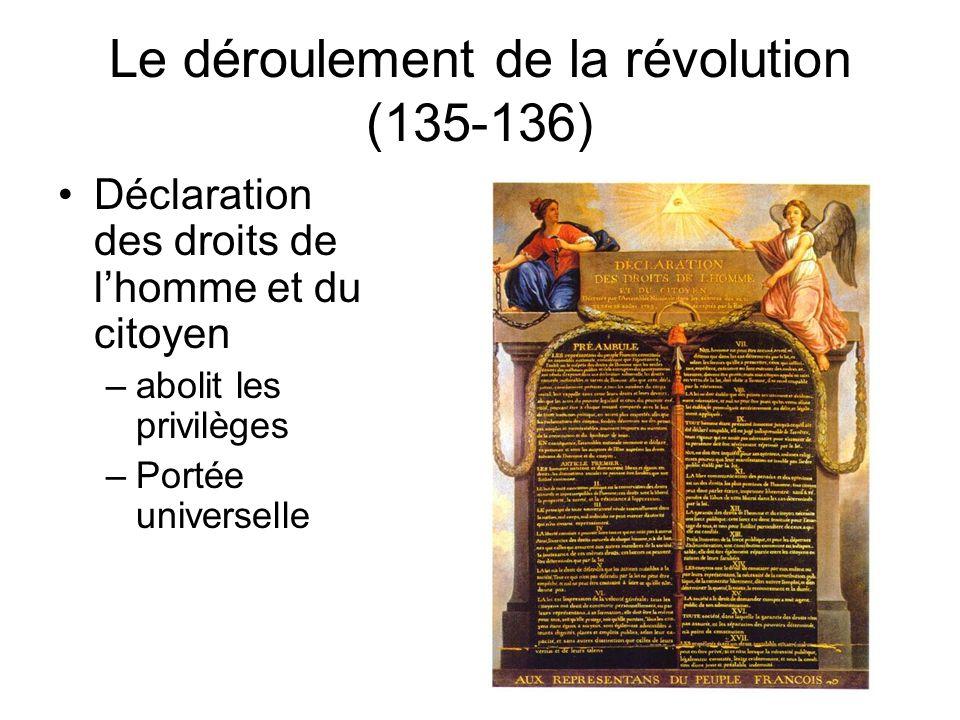 Le déroulement de la révolution (135-136)