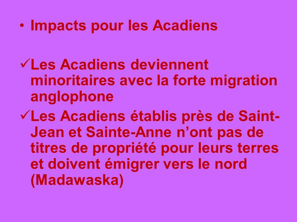 Impacts pour les Acadiens