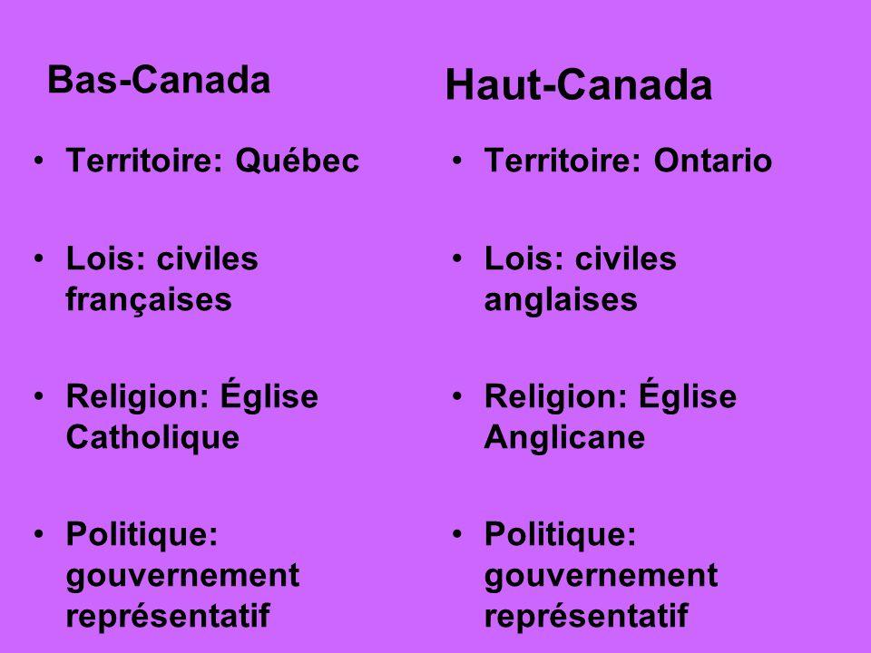 Haut-Canada Bas-Canada Territoire: Québec Lois: civiles françaises