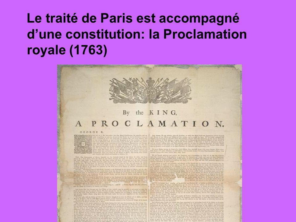 Le traité de Paris est accompagné d'une constitution: la Proclamation royale (1763)