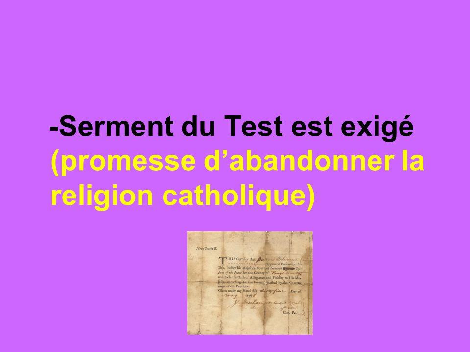 -Serment du Test est exigé (promesse d'abandonner la religion catholique)