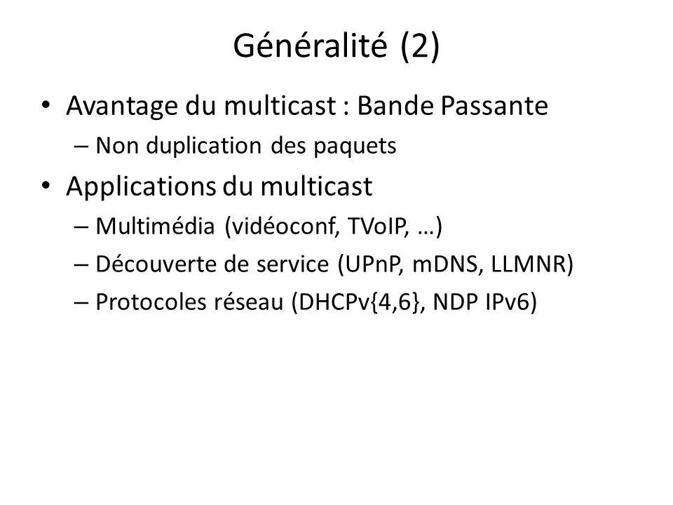 Généralité (2) Avantage du multicast : Bande Passante