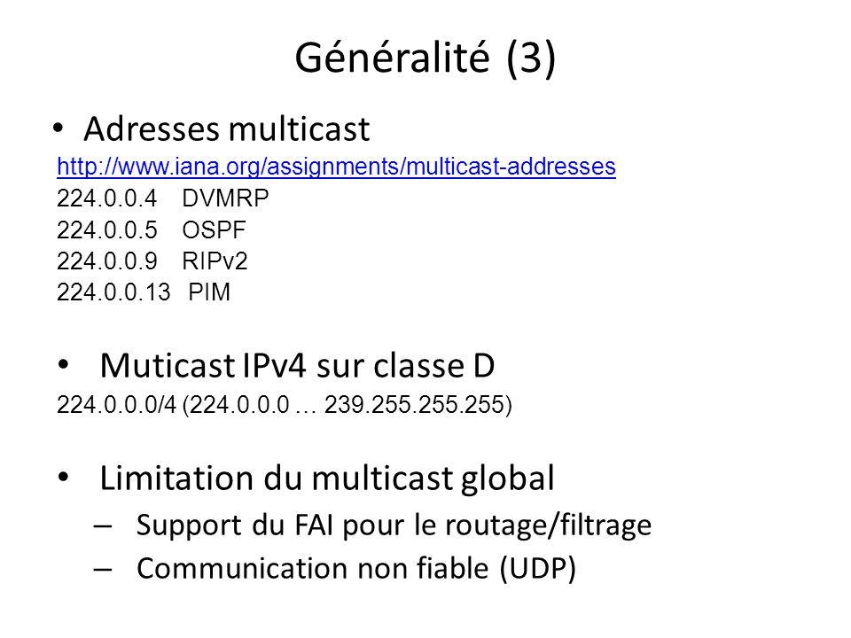Généralité (3) Adresses multicast Muticast IPv4 sur classe D