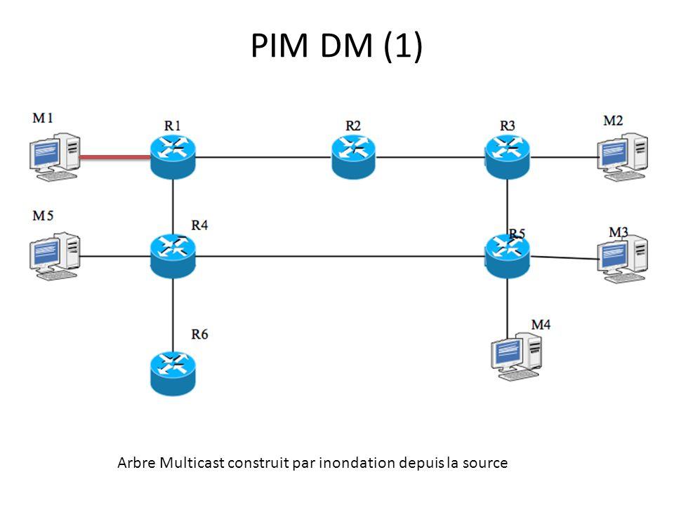 PIM DM (1) Arbre Multicast construit par inondation depuis la source