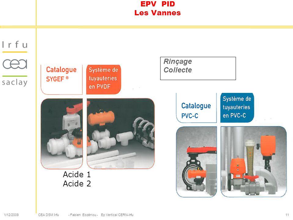 Acide 1 Acide 2 EPV PID Les Vannes Rinçage Collecte 1/12/2009