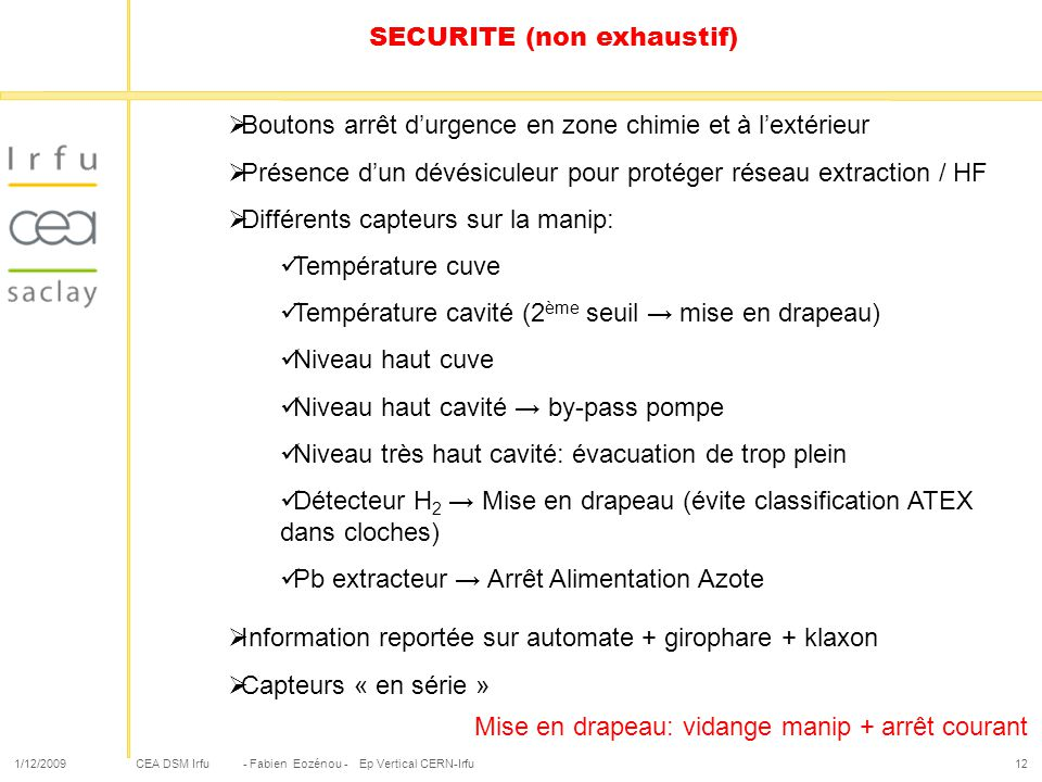 SECURITE (non exhaustif)