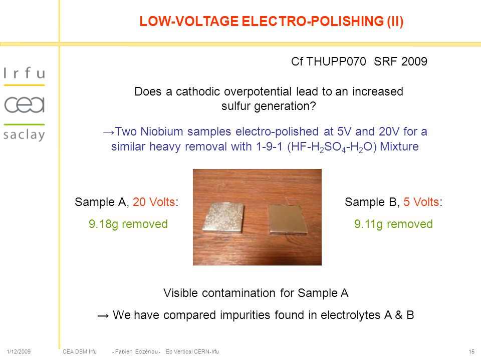 LOW-VOLTAGE ELECTRO-POLISHING (II)