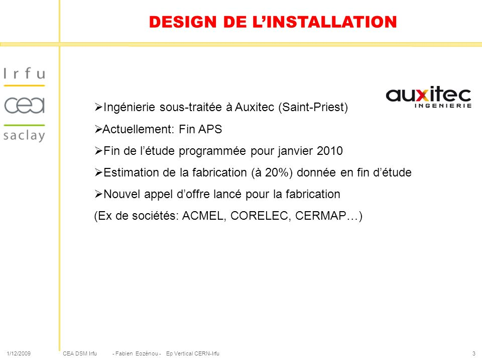 DESIGN DE L'INSTALLATION