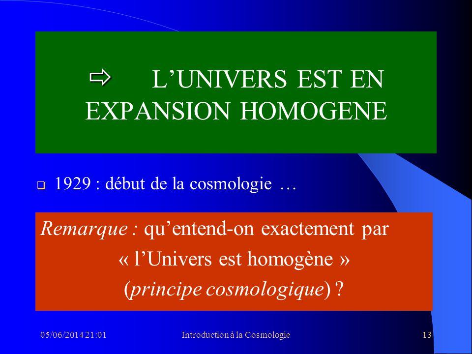  L'UNIVERS EST EN EXPANSION HOMOGENE