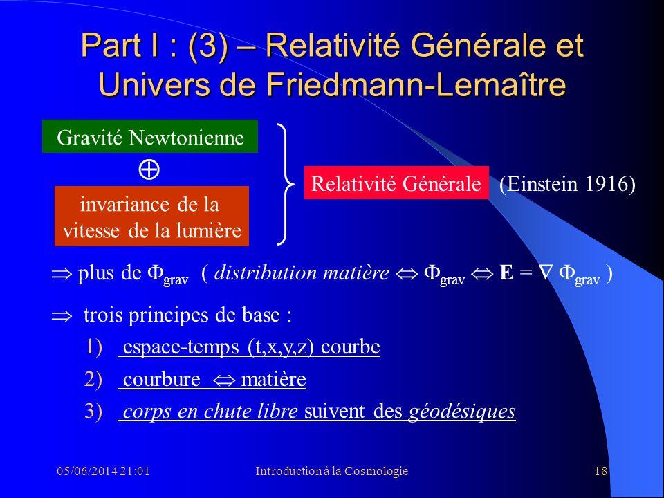 Part I : (3) – Relativité Générale et Univers de Friedmann-Lemaître