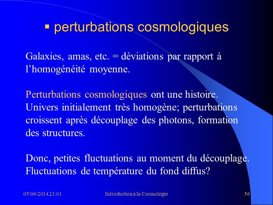 perturbations cosmologiques