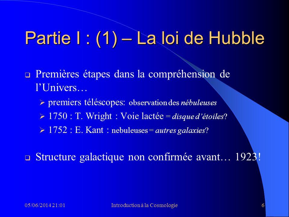 Partie I : (1) – La loi de Hubble