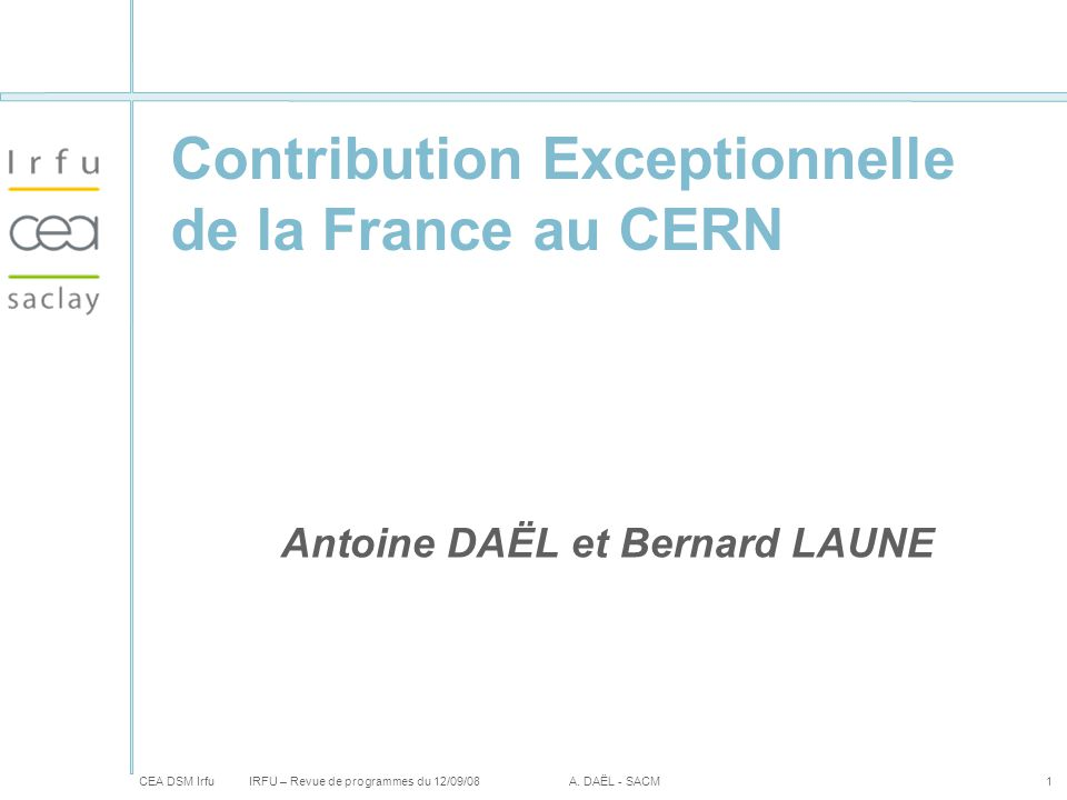 Contribution Exceptionnelle de la France au CERN