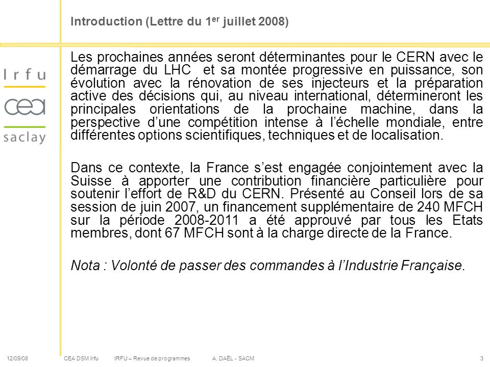 Introduction (Lettre du 1er juillet 2008)