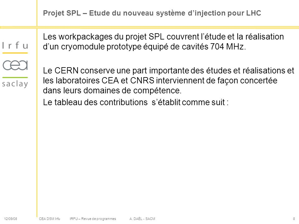 Projet SPL – Etude du nouveau système d'injection pour LHC