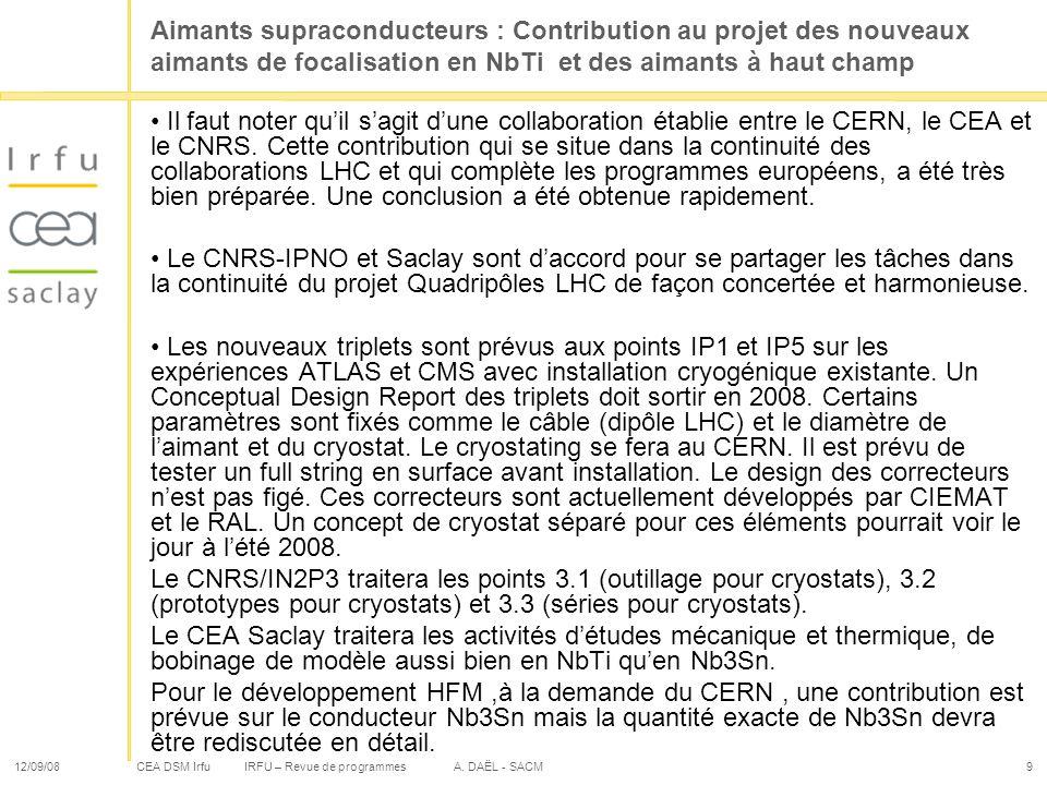 Aimants supraconducteurs : Contribution au projet des nouveaux aimants de focalisation en NbTi et des aimants à haut champ
