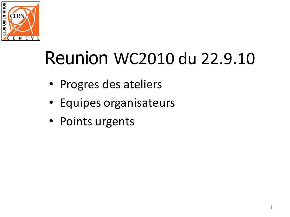 Reunion WC2010 du 22.9.10 Progres des ateliers Equipes organisateurs
