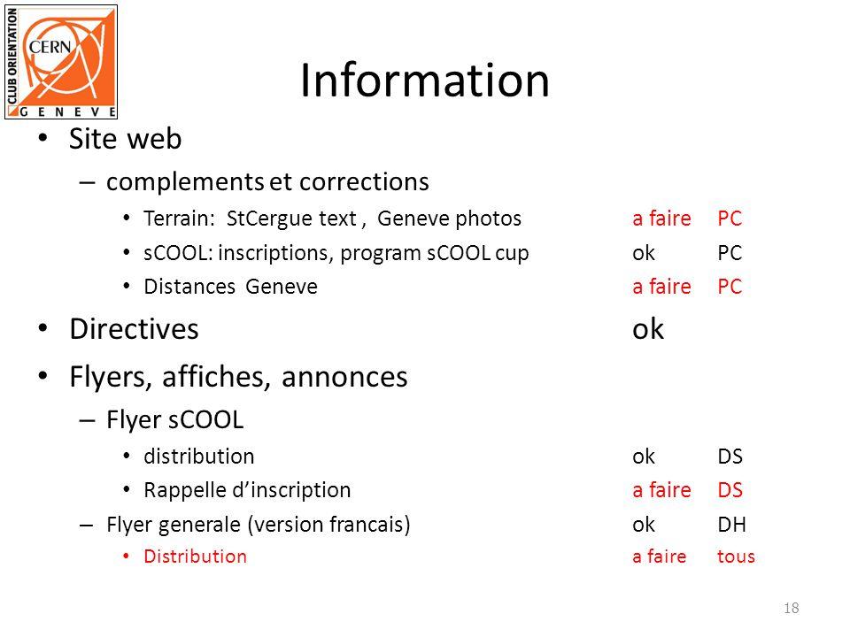 Information Site web Directives ok Flyers, affiches, annonces