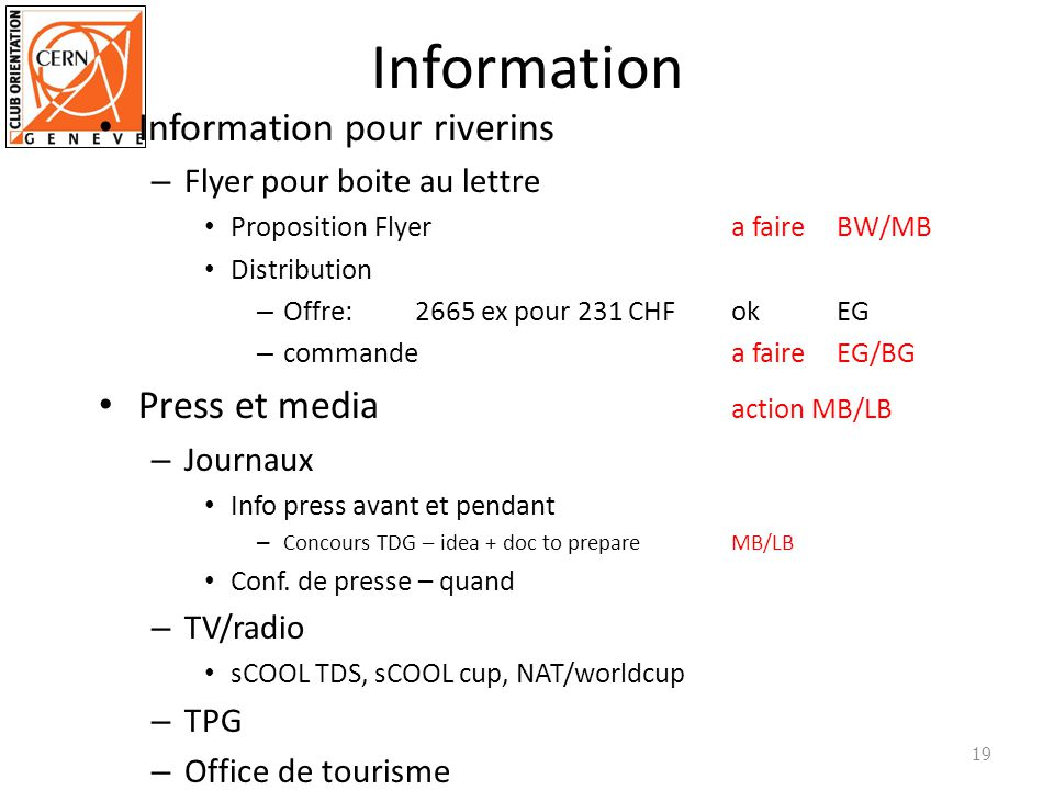 Information Information pour riverins Press et media action MB/LB