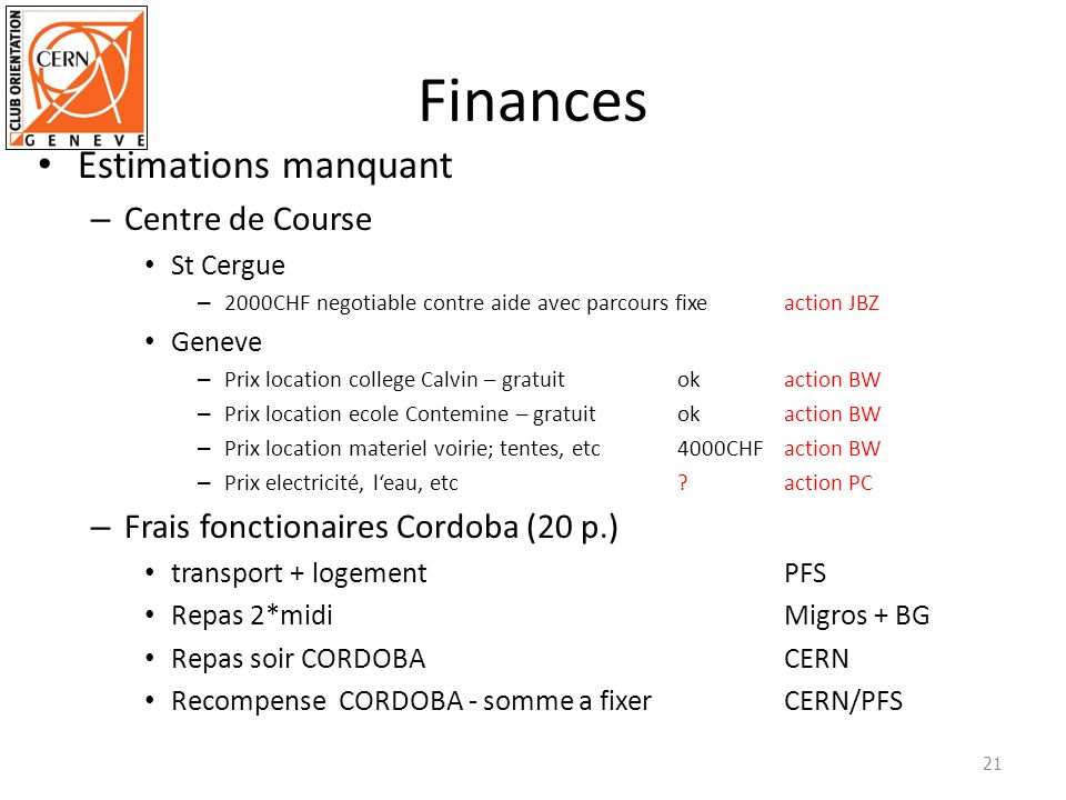 Finances Estimations manquant Centre de Course