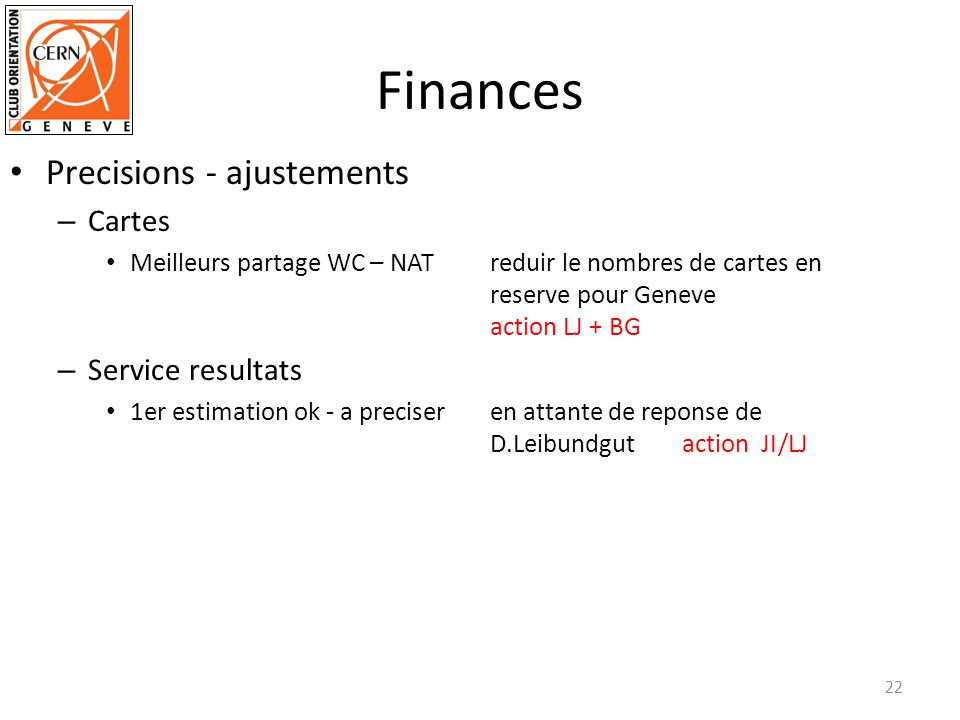Finances Precisions - ajustements Cartes Service resultats