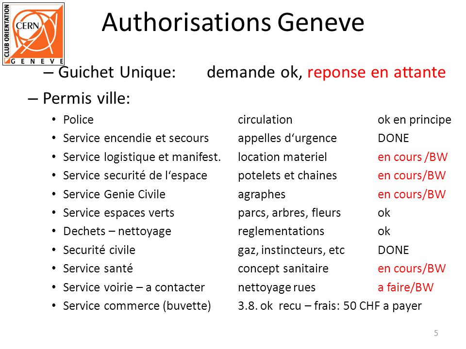 Authorisations Geneve