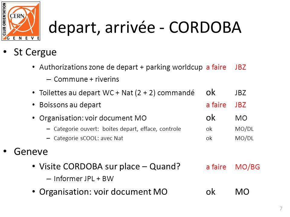 depart, arrivée - CORDOBA