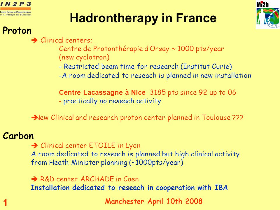 Hadrontherapy in France