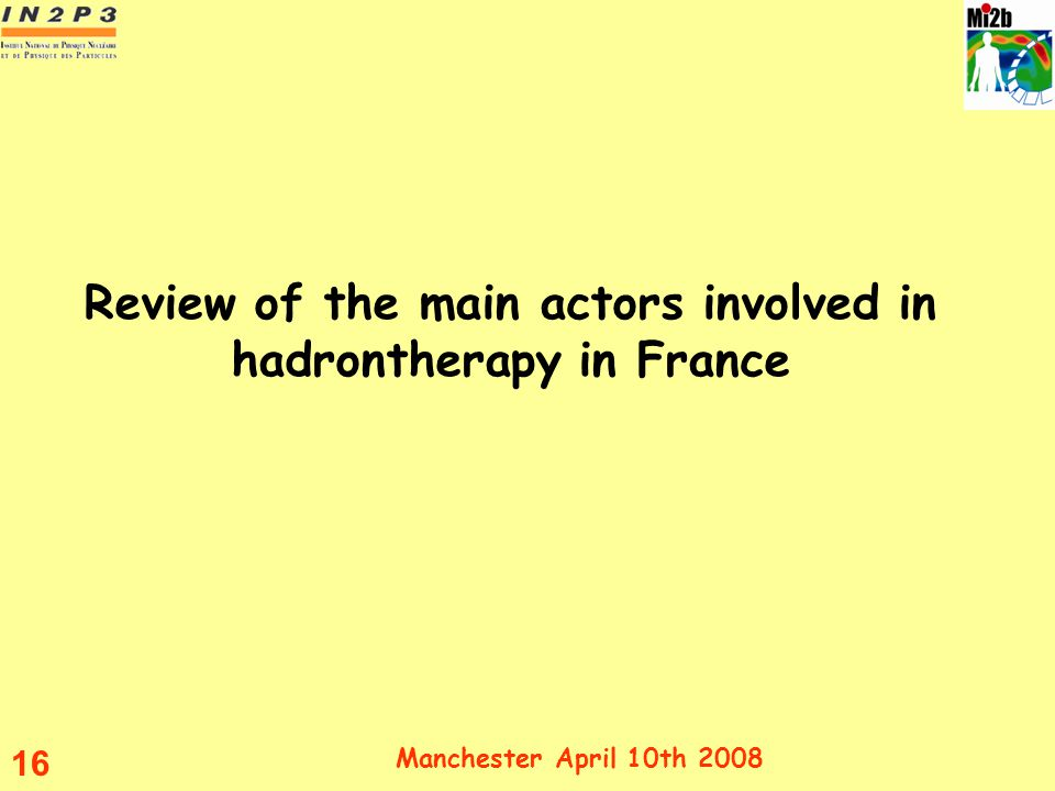 Review of the main actors involved in hadrontherapy in France