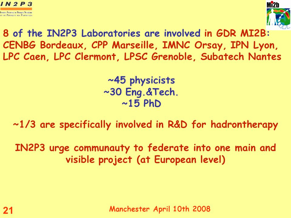 ~45 physicists ~30 Eng.&Tech. ~15 PhD