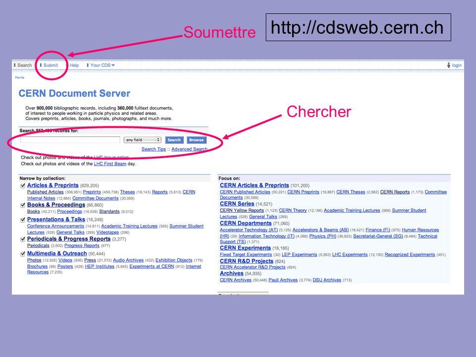 http://cdsweb.cern.ch Soumettre Chercher