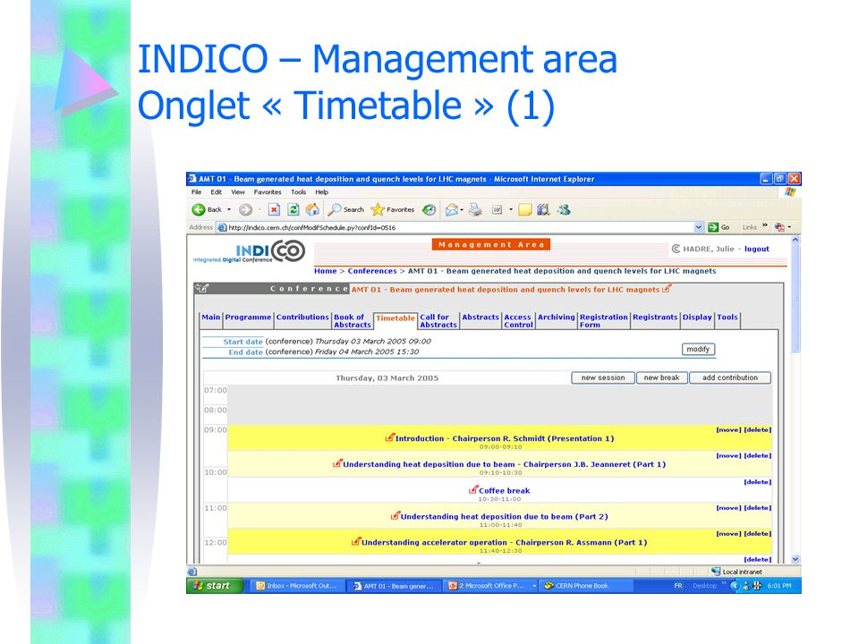 INDICO – Management area Onglet « Timetable » (1)