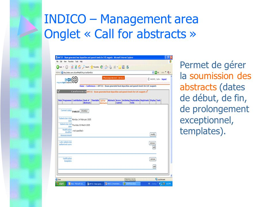 INDICO – Management area Onglet « Call for abstracts »