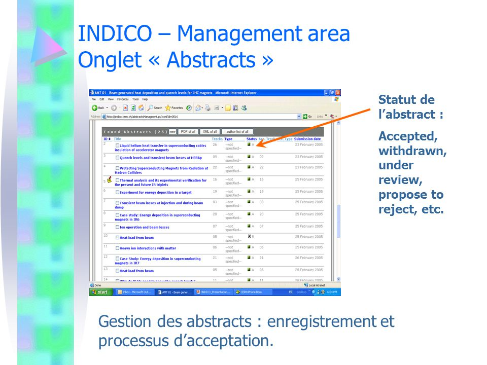 INDICO – Management area Onglet « Abstracts »