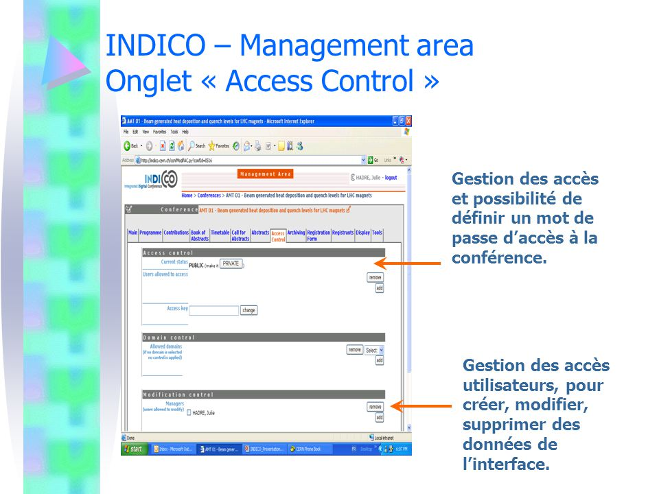 INDICO – Management area Onglet « Access Control »