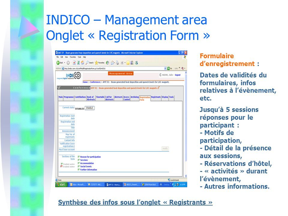 INDICO – Management area Onglet « Registration Form »
