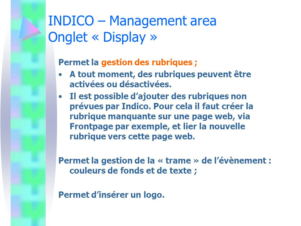 INDICO – Management area Onglet « Display »
