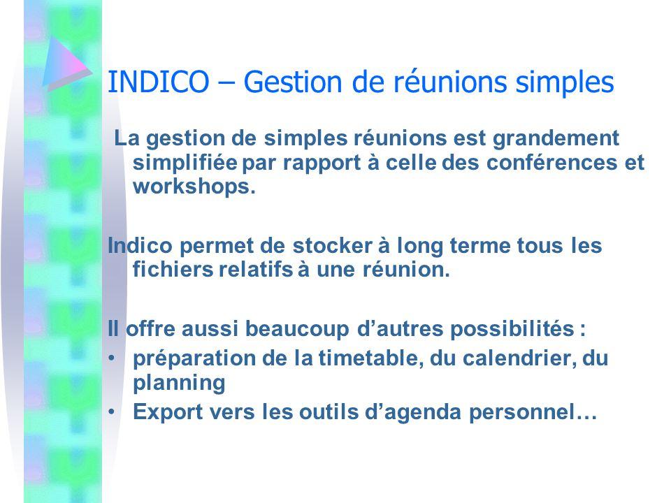 INDICO – Gestion de réunions simples