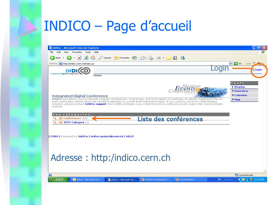 INDICO – Page d'accueil