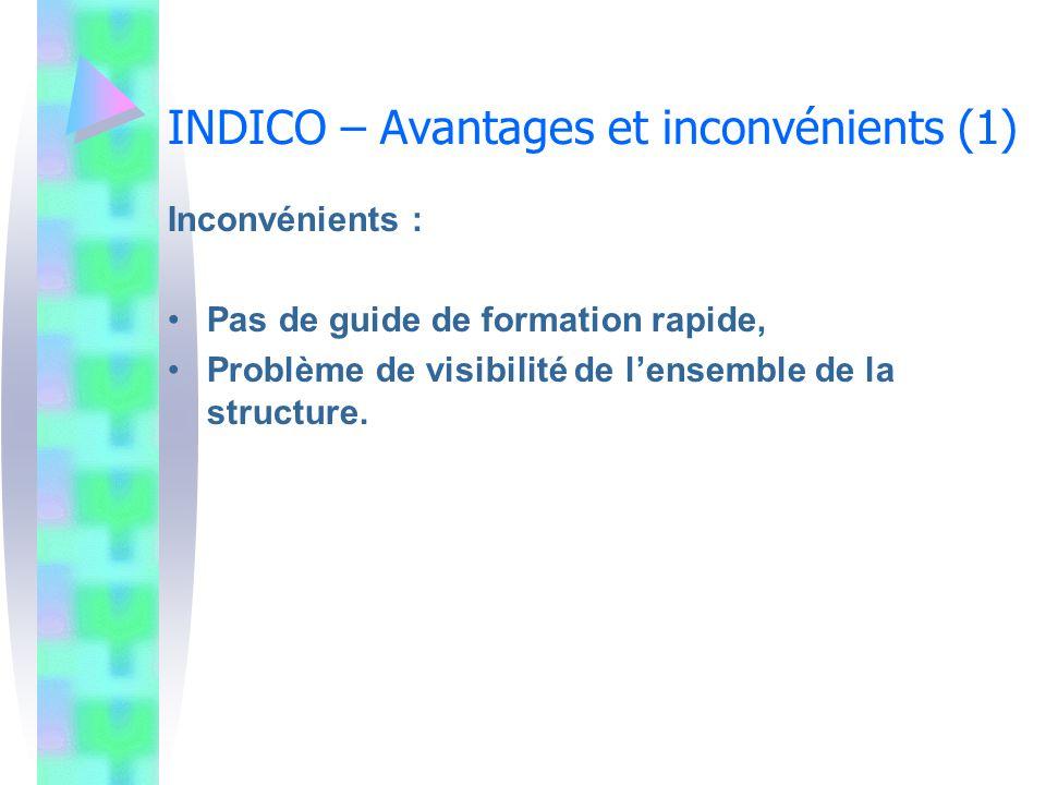 INDICO – Avantages et inconvénients (1)