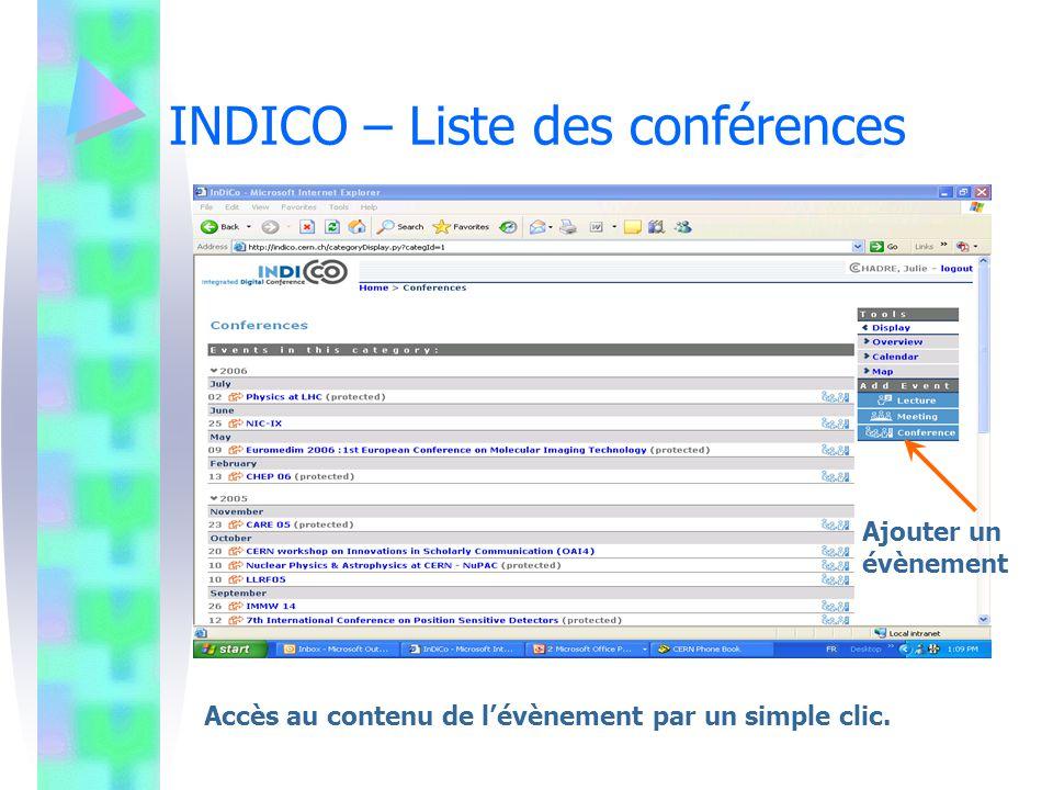 INDICO – Liste des conférences
