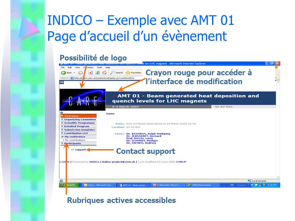 INDICO – Exemple avec AMT 01 Page d'accueil d'un évènement