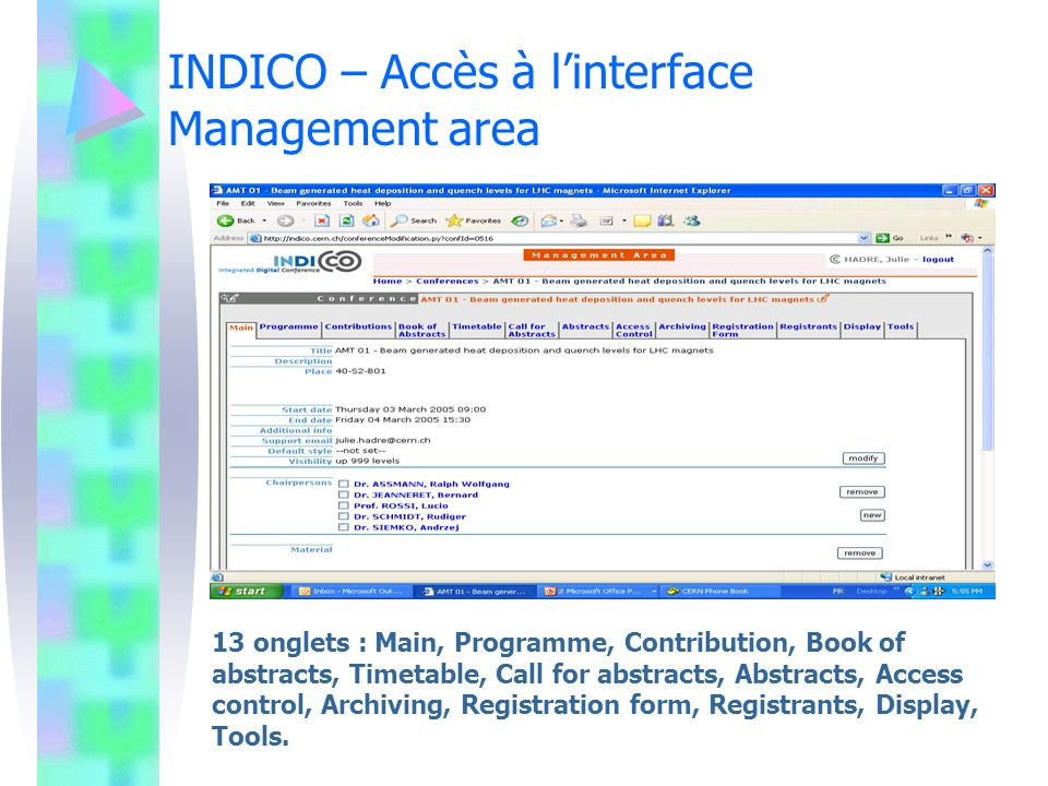 INDICO – Accès à l'interface Management area
