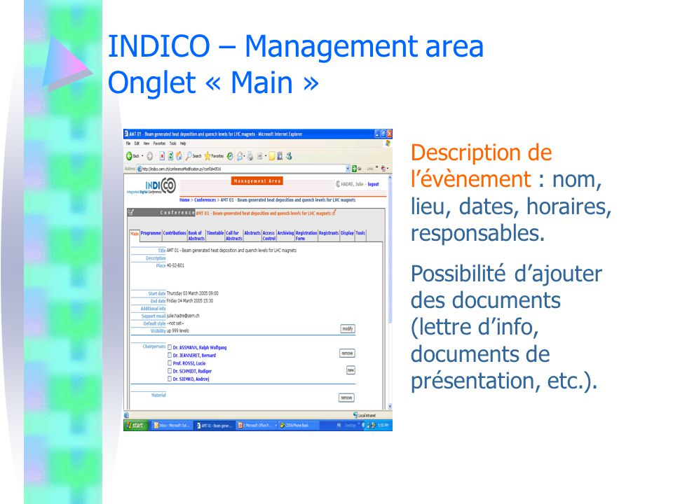 INDICO – Management area Onglet « Main »