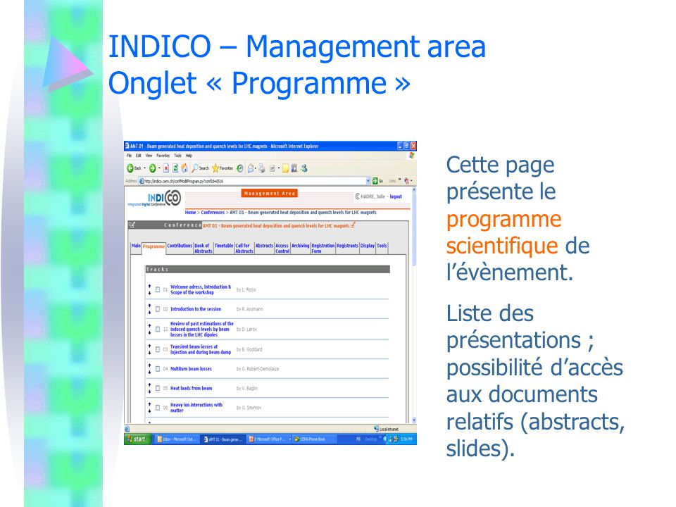 INDICO – Management area Onglet « Programme »
