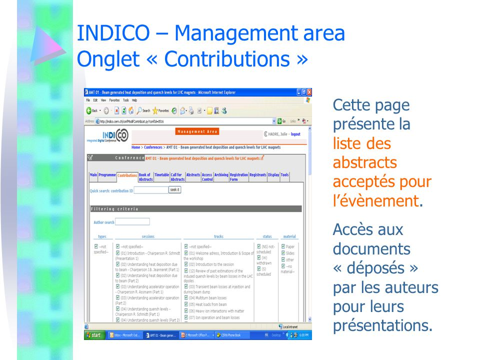 INDICO – Management area Onglet « Contributions »
