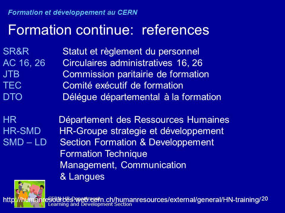 Formation continue: references