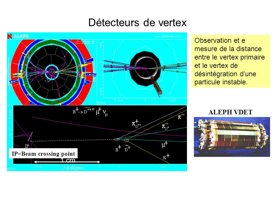 Détecteurs de vertex IP=Beam crossing point. 1 cm.