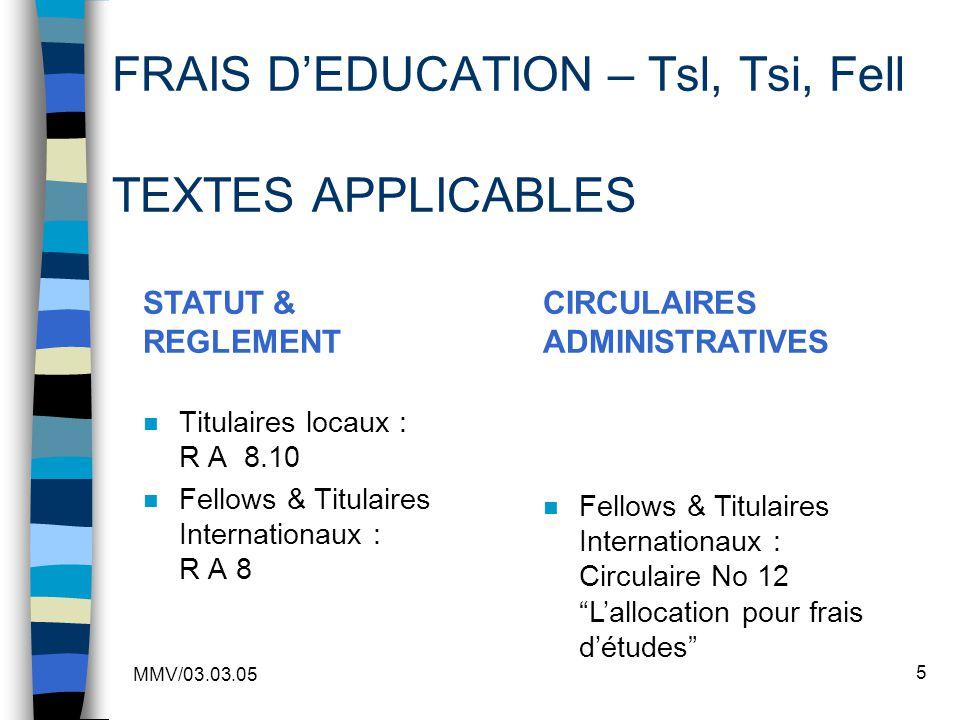 FRAIS D'EDUCATION – Tsl, Tsi, Fell TEXTES APPLICABLES