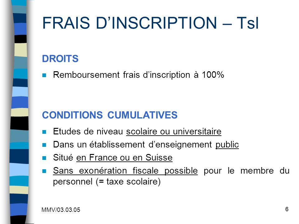 FRAIS D'INSCRIPTION – Tsl